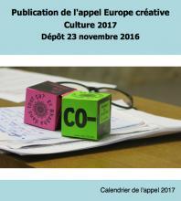 Publication de l'appel Europe créative Culture 2017  - dépôt 23 novembre 2016