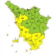 Maltempo, codice giallo su Toscana ovest per piogge e temporali fino alla mezzanotte di domani, giovedì