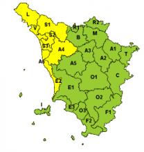 Codice giallo per piogge, vento e temporali fino alla mezzanotte di sabato 24 novembre
