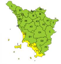 Maltempo, codice giallo oggi e domani per pioggia e temporali su costa centro meridionale e arcipelago